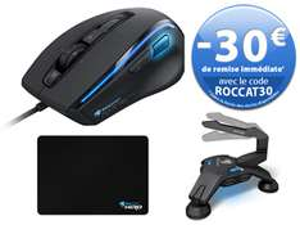 Pack gamer : Souris Kone XTD + Apuri Active USB Hub + Tapis de souris Hiro 3D Supremacy avec code promo