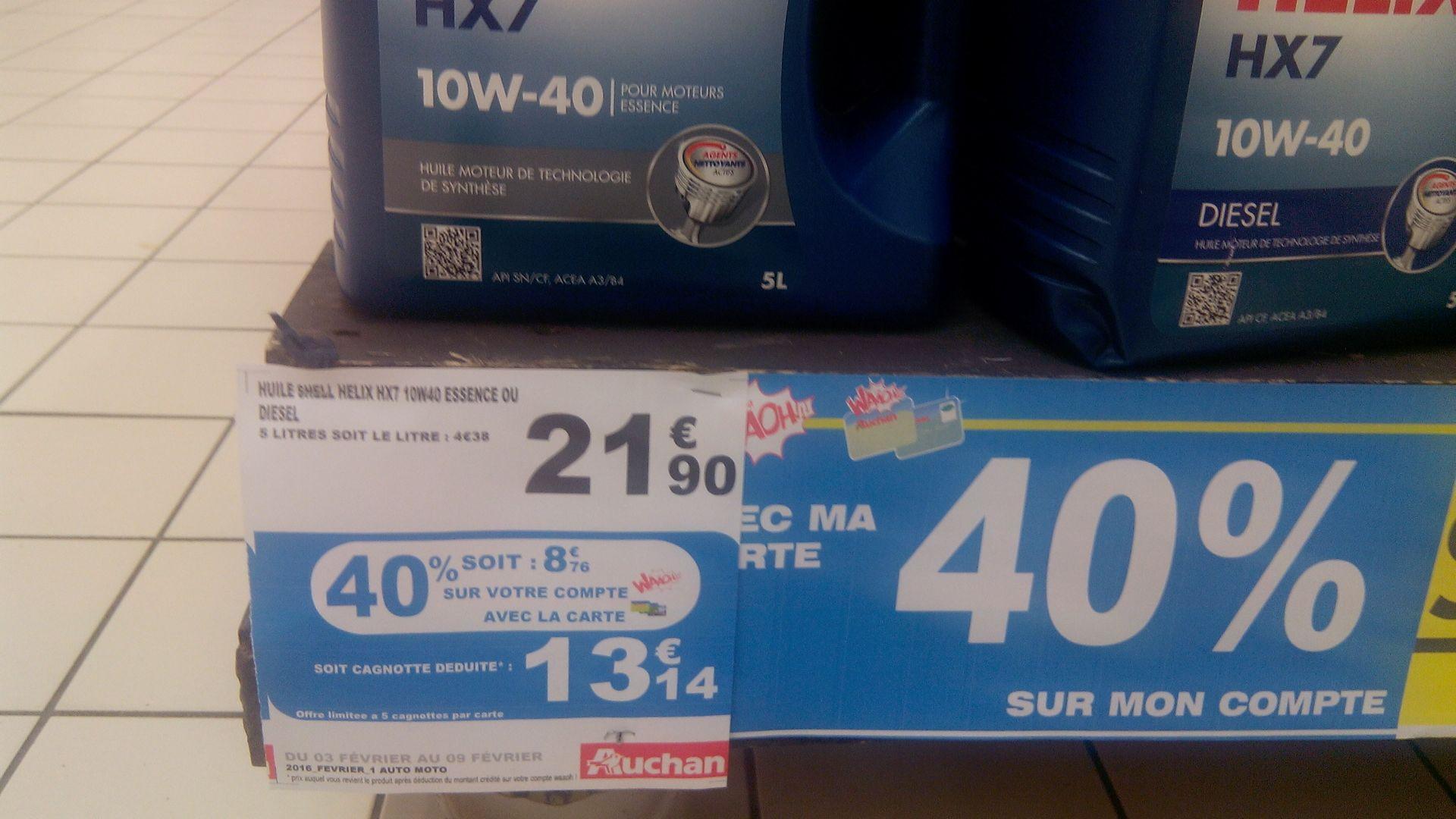 Huile Shell Helix 10W-40 (via 8.76€ sur carte Waaoh)
