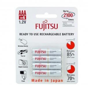 Pack de 4 piles rechargeables AAA Fujitsu - NiMh, 750 mAh
