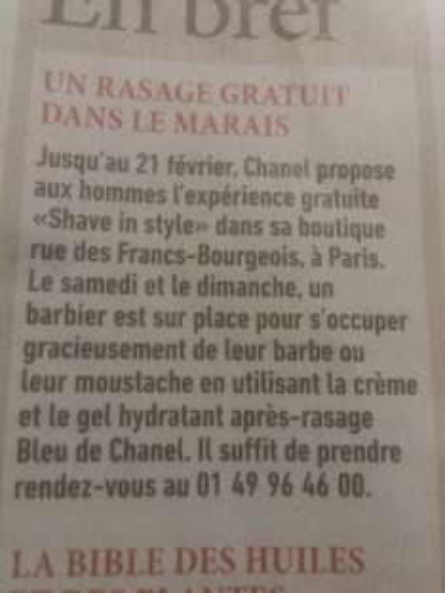 Rasage gratuit le samedi et le dimanche par un Barbier