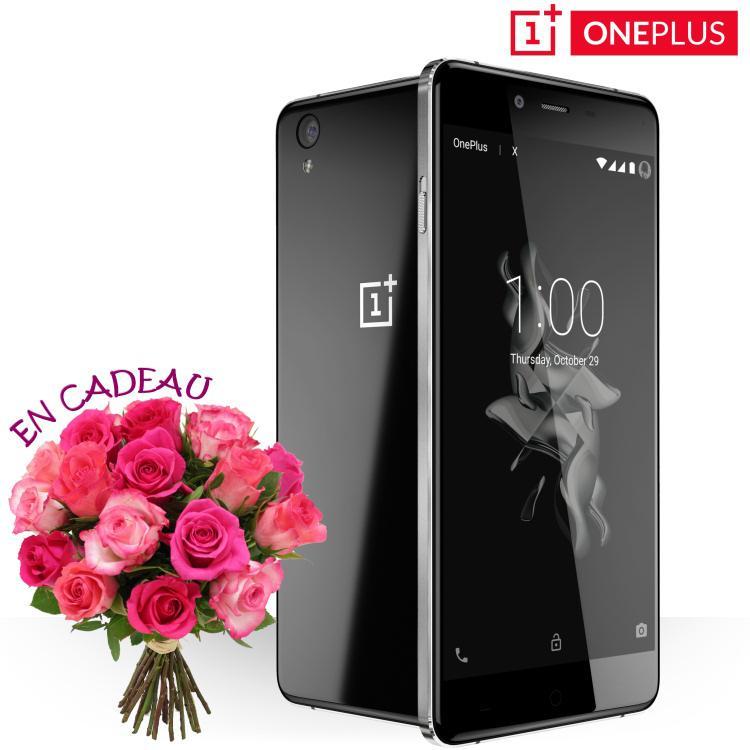 Bouquet de roses offert + livraison express gratuite pour l'achat d'un OnePlus X Onyx