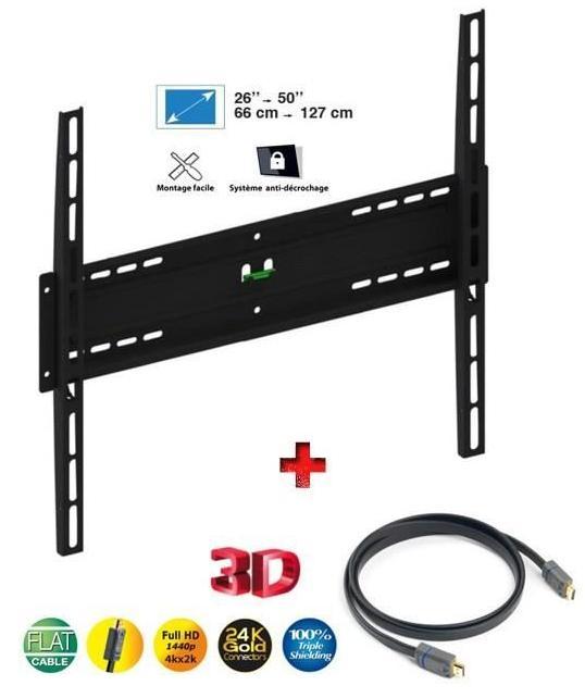 Kit Support TV mural Meliconi 920003 + câble HDMI