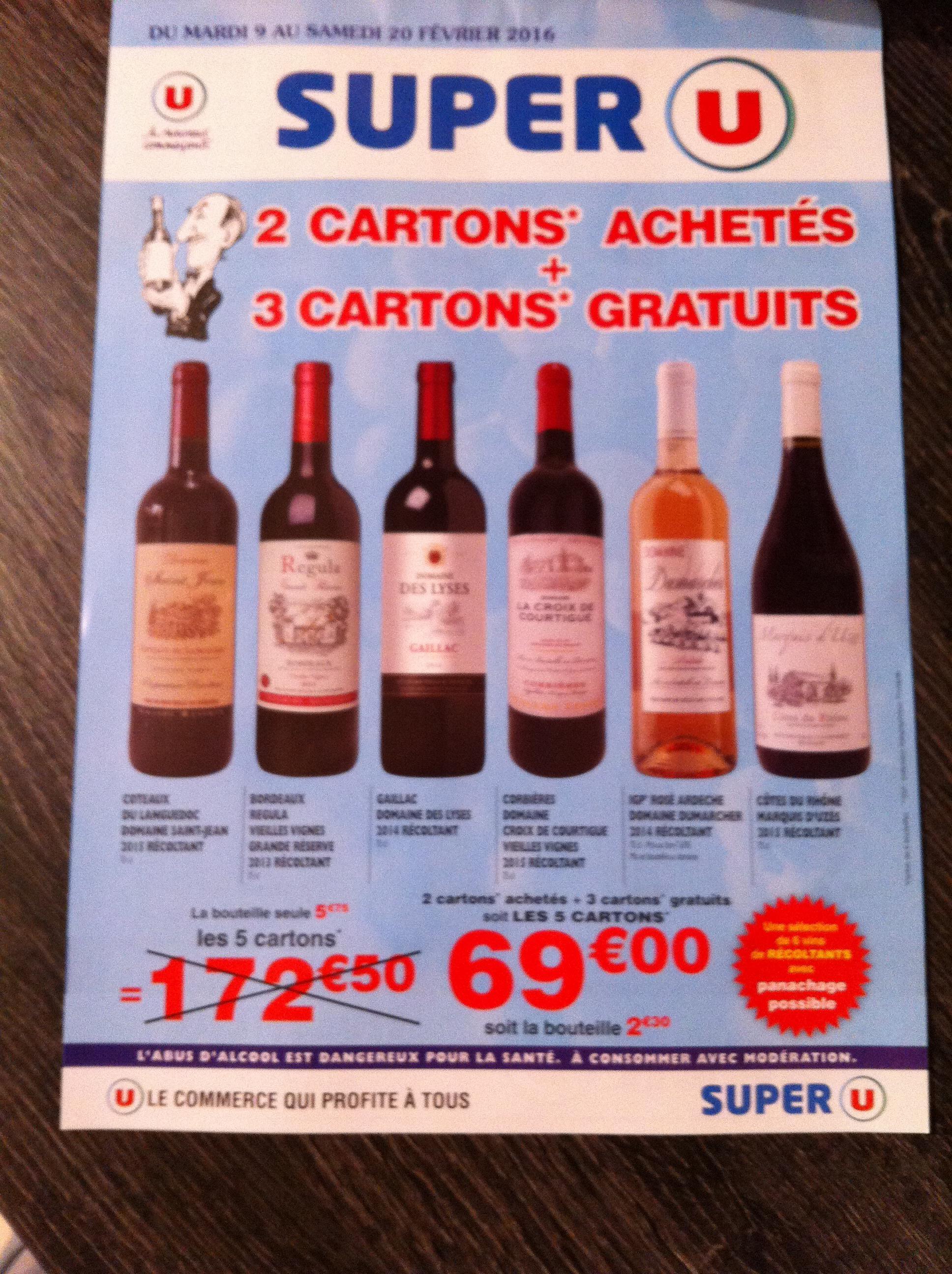 2 cartons de vins achetés = 3 cartons offerts, soit les 5 cartons