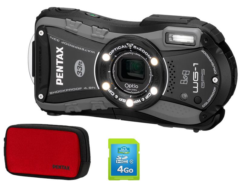 Appareil photo Pentax Optio WG-1 - Etanche 10 m GPS + Housse Pentax + SDHC 4 Go