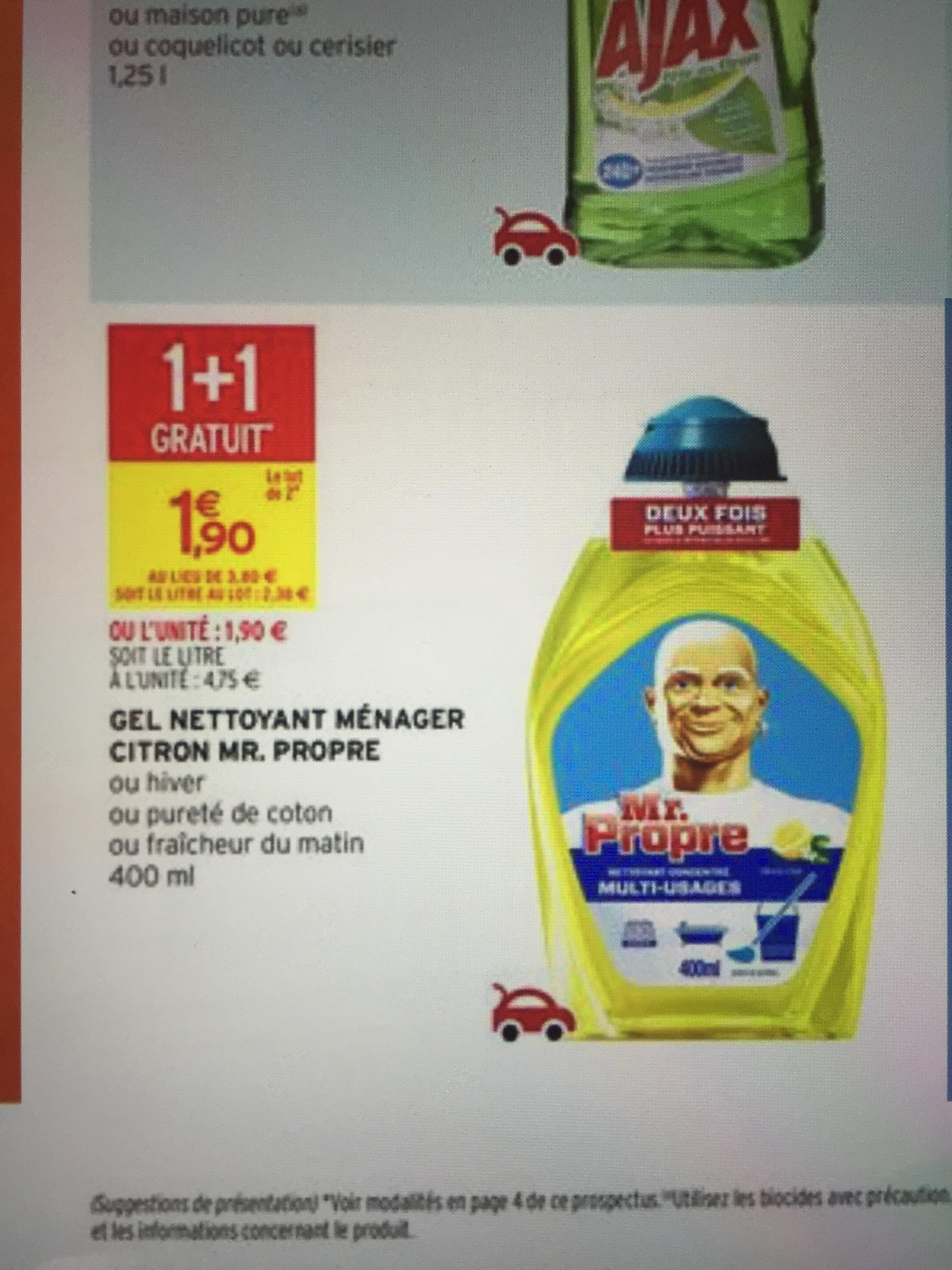 Lot de 2 gel nettoyant ménager Mr Propre via bdr