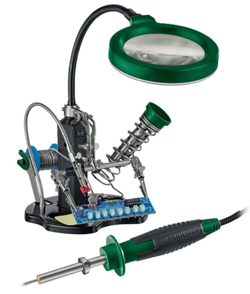 Kit de soudage avec loupe, fixations, LED et guidage du fil
