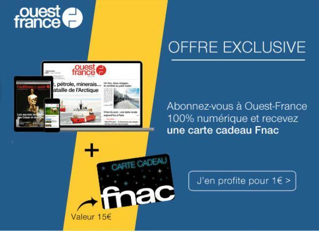 Abonnement numerique mensuel pendant 3 mois (+ Carte cadeau Fnac de 15€ ou Carte cadeau Deezer de 16€ offerte)