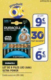 Lot de 8 Piles LR3 (AAA) Duracell Ultra Power