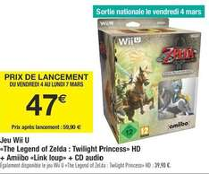 The Legend of Zelda sur Wii U - Twilight Princess HD + Amiibo Link Loup + CD Audio