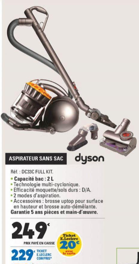 Aspirateur sans sac Dyson DC33C full kit (Brosse uptop - Brosse auto-démêlante fournies)