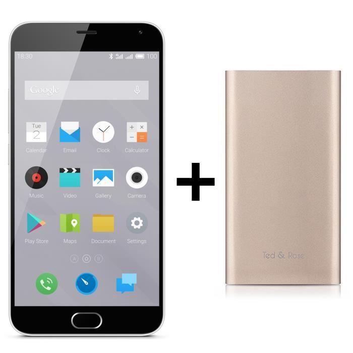 "Smartphone 5.5"" Meizu M2 Note Blanc 4G + Batterie externe 4000mAh Or ou Argent (via ODR 50€)"