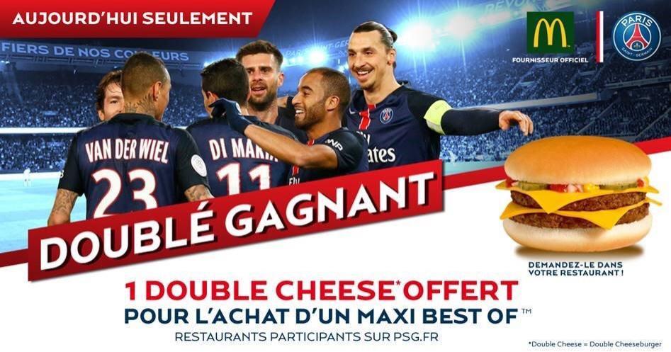 1 Double Cheese offert pour l'achat d'1 Maxi Best-Of, suite à une victoire du PSG avec un Doublé