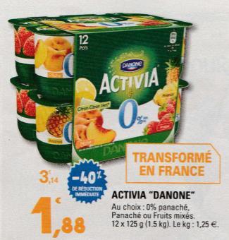 Lot de 12 pots Activia Danone - 12x125g, Différents parfums (via BDR de 0.75€)