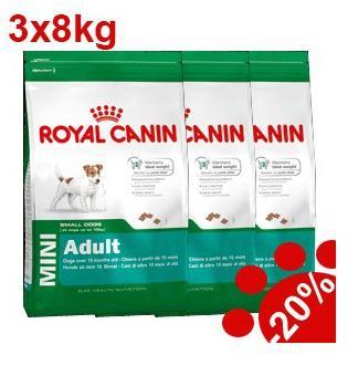 Croquettes pour chien Royal Canin Mini Adult (3 x 8 kg)