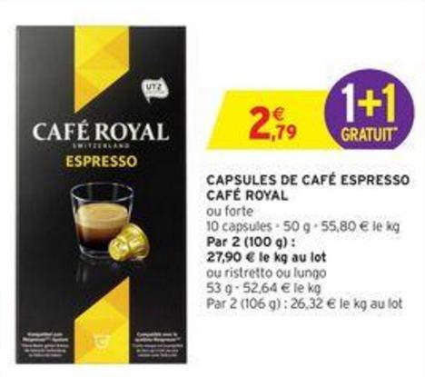 Capsules de café espresso Café Royal