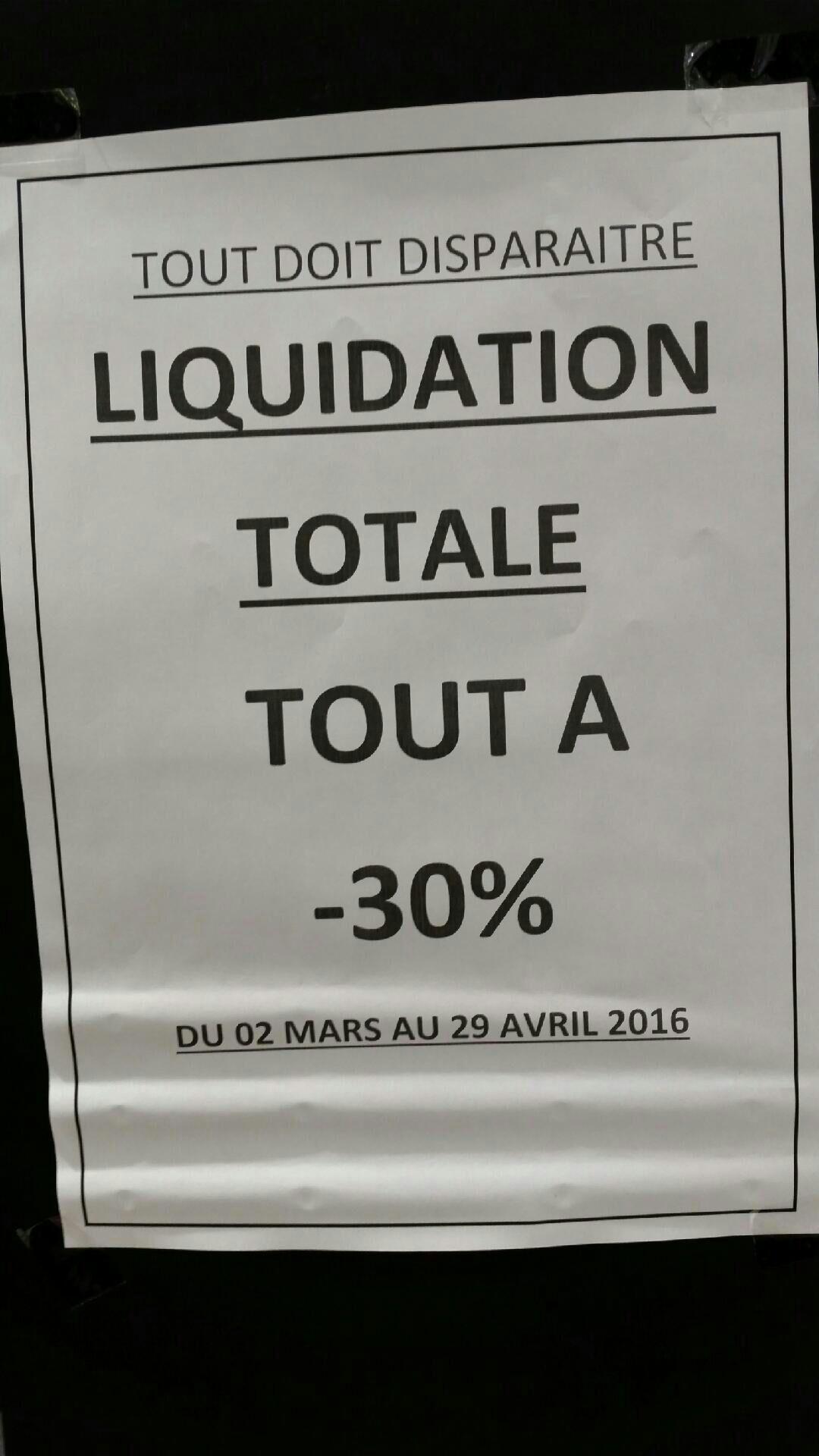 Liquidation totale : 30% de réduction sur tout