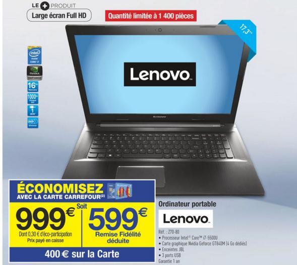 "PC portable 17.3"" Full HD Lenovo IdeaPad Z70-80 (i7-5500U, GT840M, 16 Go de Ram, 1 To) (via 400 € sur la carte de fidélité)"