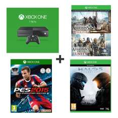 Pack console Microsoft Xbox One 1 To + Halo 5: Guardians + PES 2015 + Assassin's Creed IV: Black Flag & Unity (dématérialisés)
