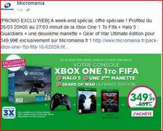 Pack console Xbox One 1 To Fifa + Halo 5 : Guardians + une 2ème manette + Gear of War Ultimate édition