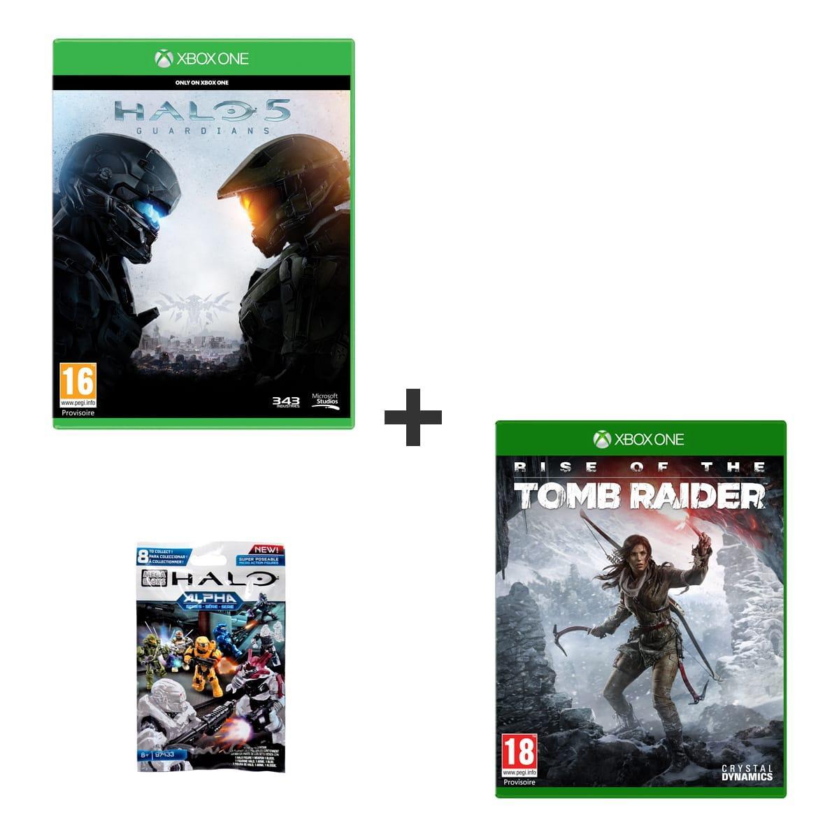 Halo 5 + Tomb Raider + Figurine sur Xbox One