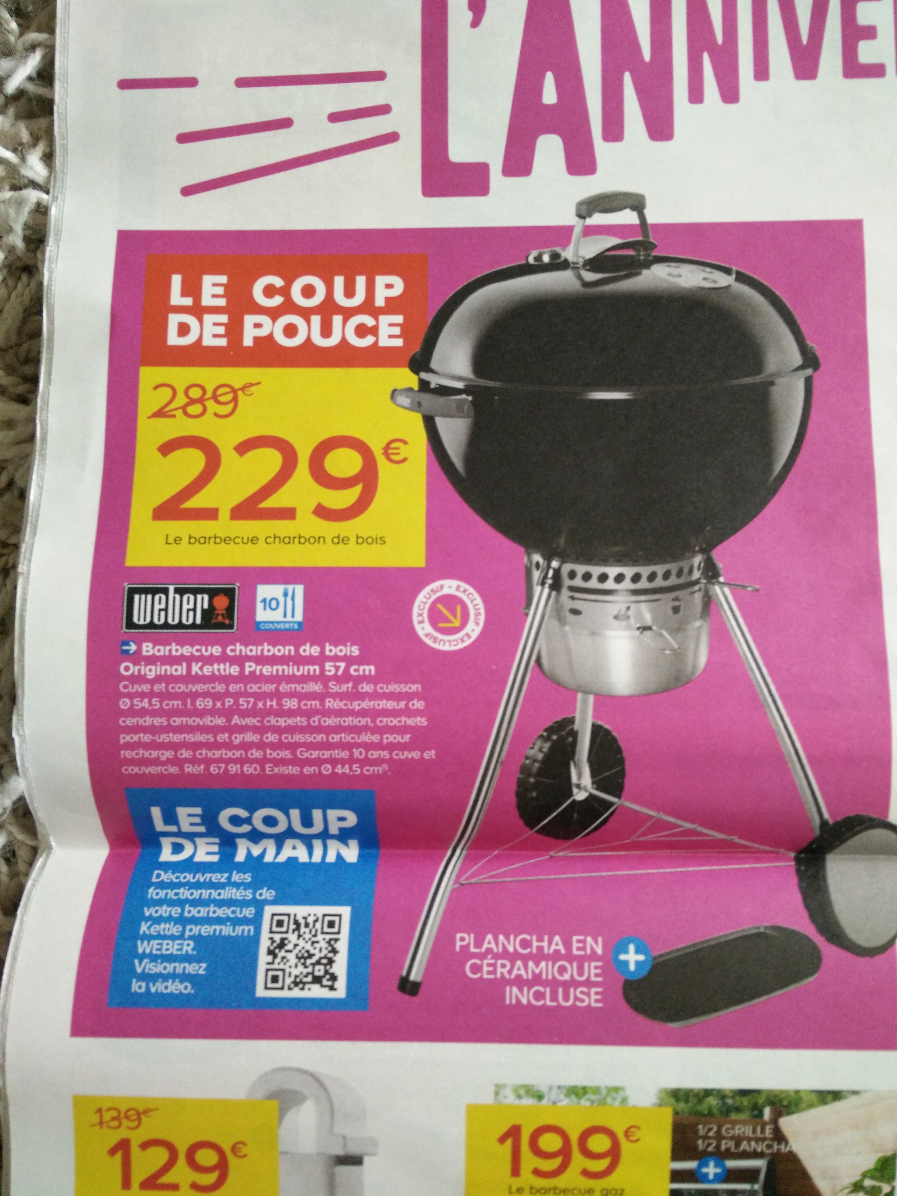 Barbecue charbon de bois Weber Original Kettle Premium 57 cm + Plancha en céramique