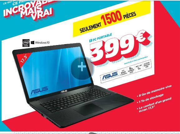 "PC Portable 17,3"" Asus A751SA-TY066T - 1600x900, N2840 2.16Ghz, RAM 8Go, 1To, Windows 10"