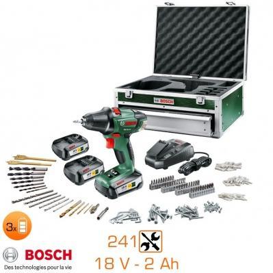 Coffret perceuse à percussion 18V + 3 batteries 2Ah + 241 accessoires