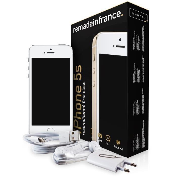 """Smartphone 4"""" iPhone 5S 16 Go (Reconditionné par Remade In France - Garantie 1 an) + 59,80€ en 1 bon d'achat"""