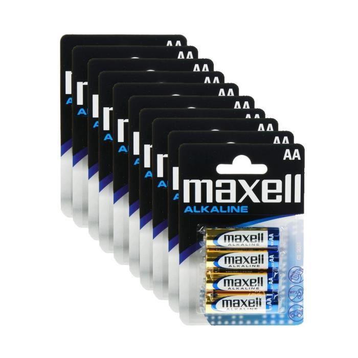 Lot de 10 Packs de 4 Piles Alcaline LR6 AA Maxell - 40 piles