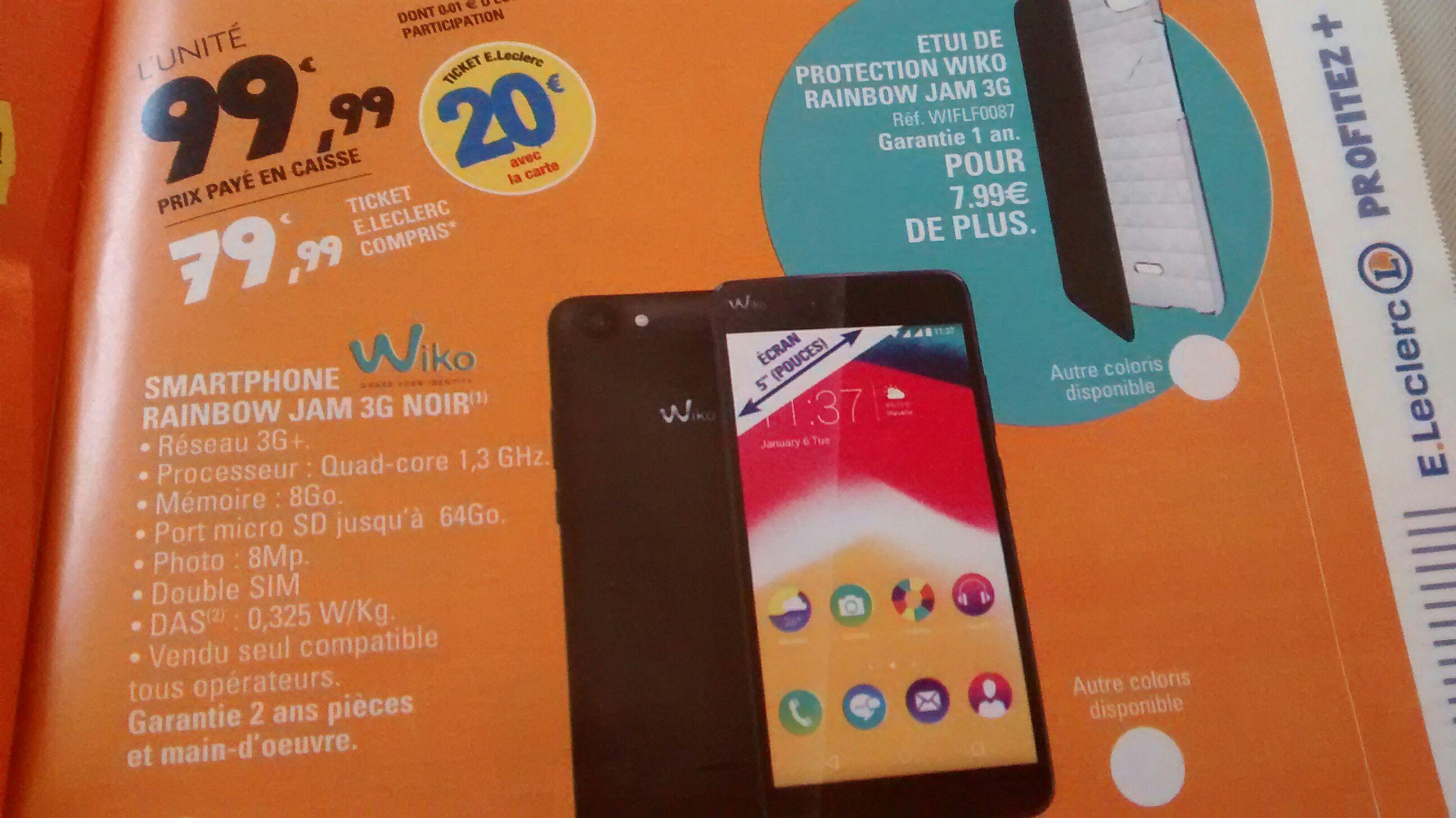 """Smartphone 5"""" Wiko Rainbow Jam 8Go - 3G Noir (via 20€ carte fidélité)"""
