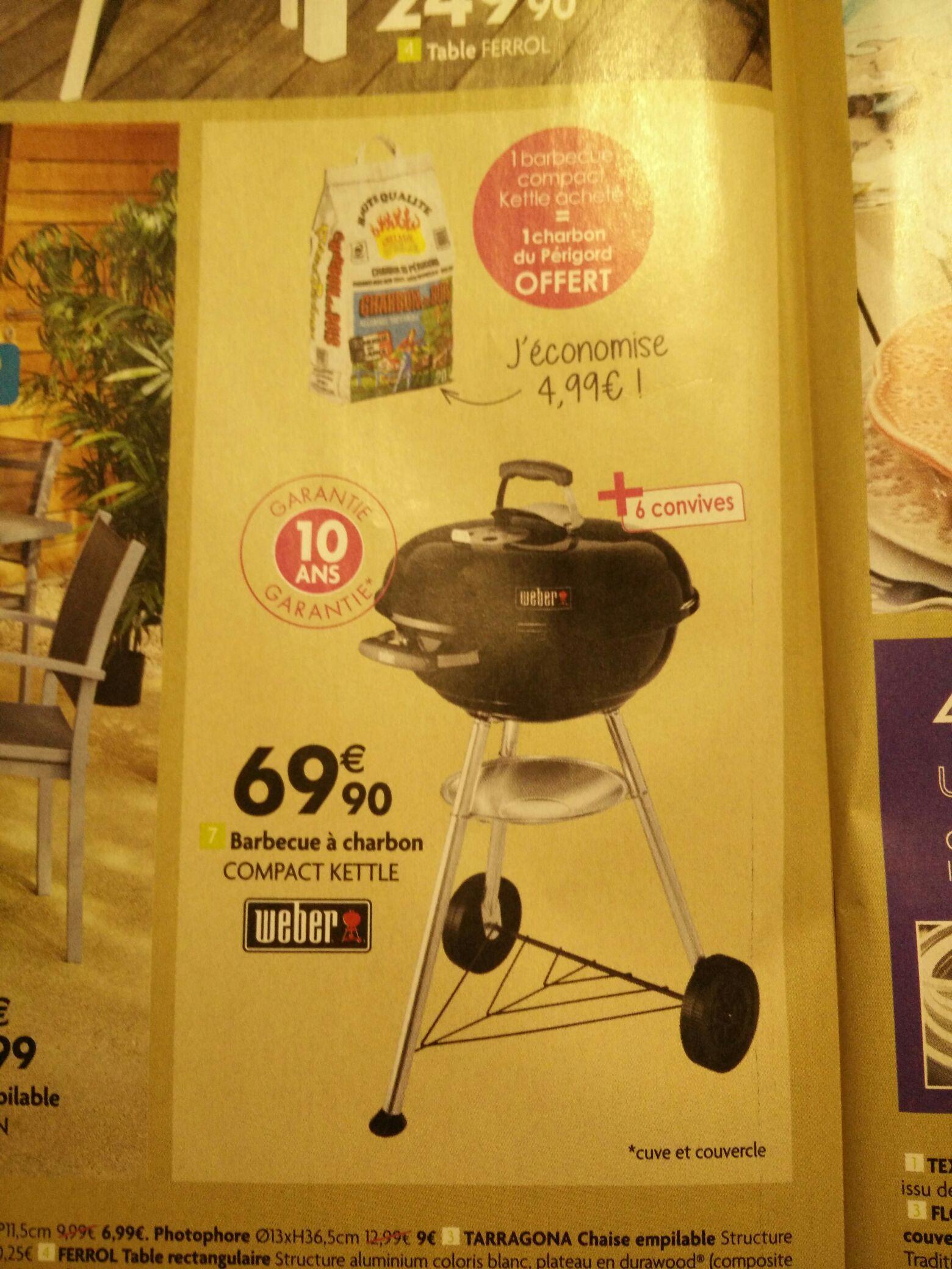 Barbecue compact Kettle Weber - 47cm + Sac de charbon de boir - 20L