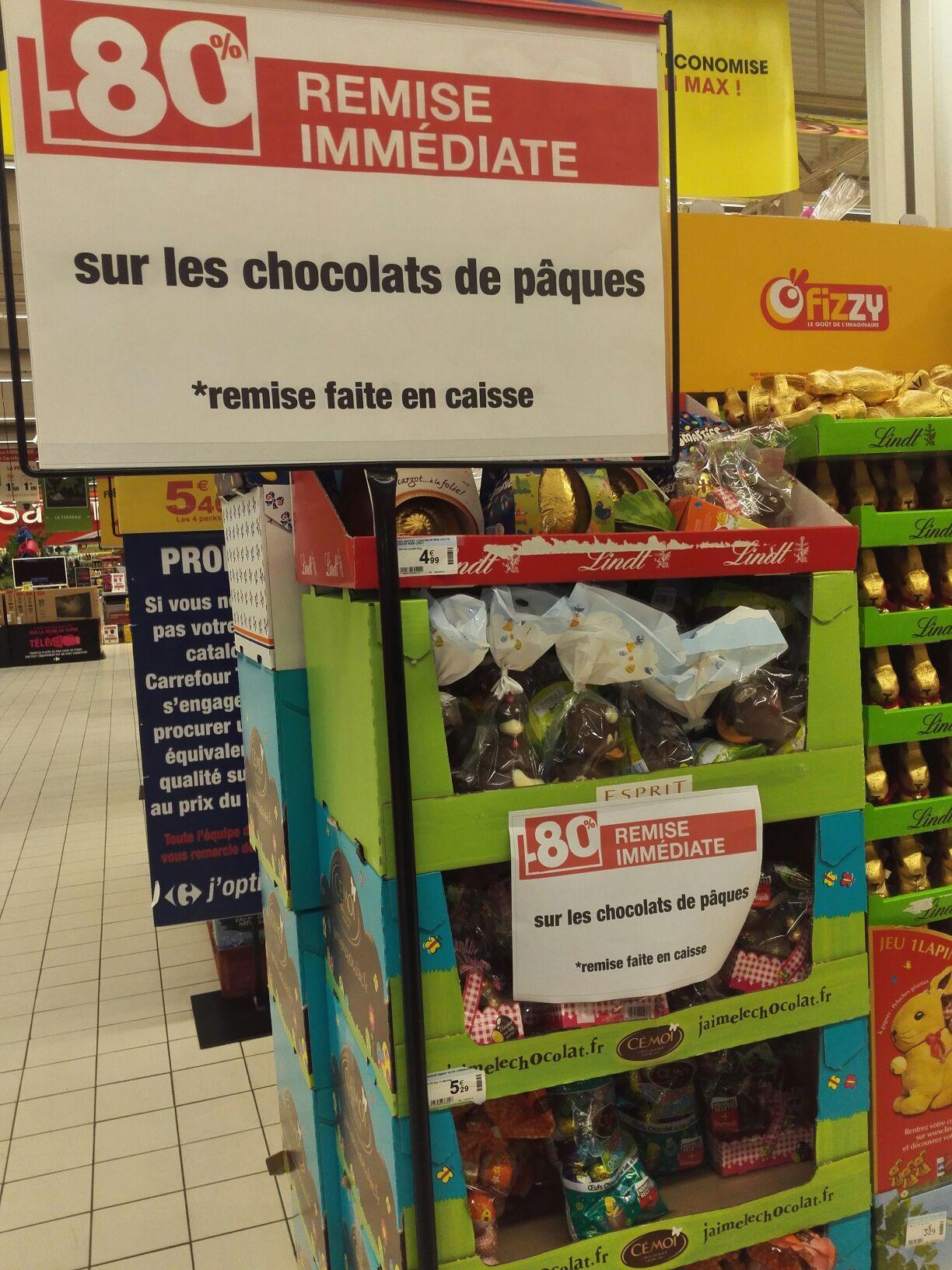 80% de réduction sur tous les chocolats de Pâques