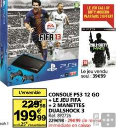 Console Sony PS3 12Go + FIFA 2013  + 2 Dualshock 3 + Call of Duty MW3