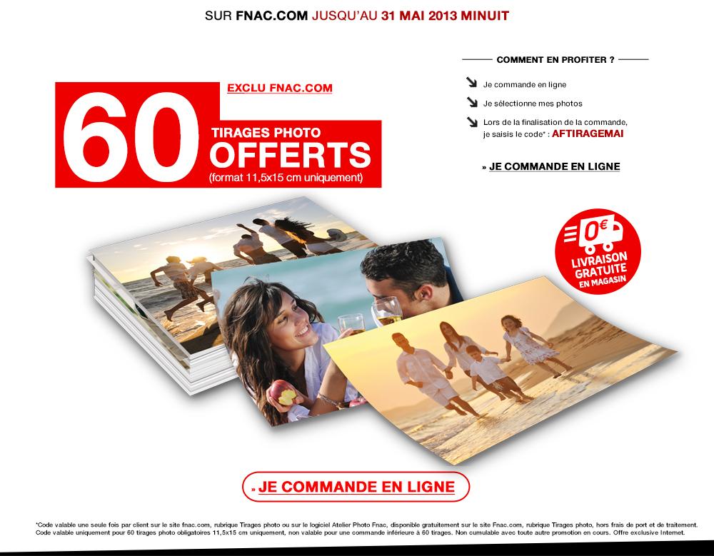 60 Tirages photos 11,5 X 15 cm gratuits (Retrait en mag : 2€ / A domicile : 3.95€ )