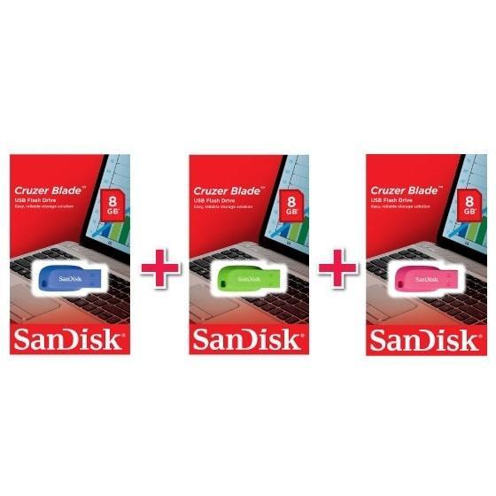 Pack 3 x Clé USB 2.0 SanDisk Cruzer Blade - 8 Go