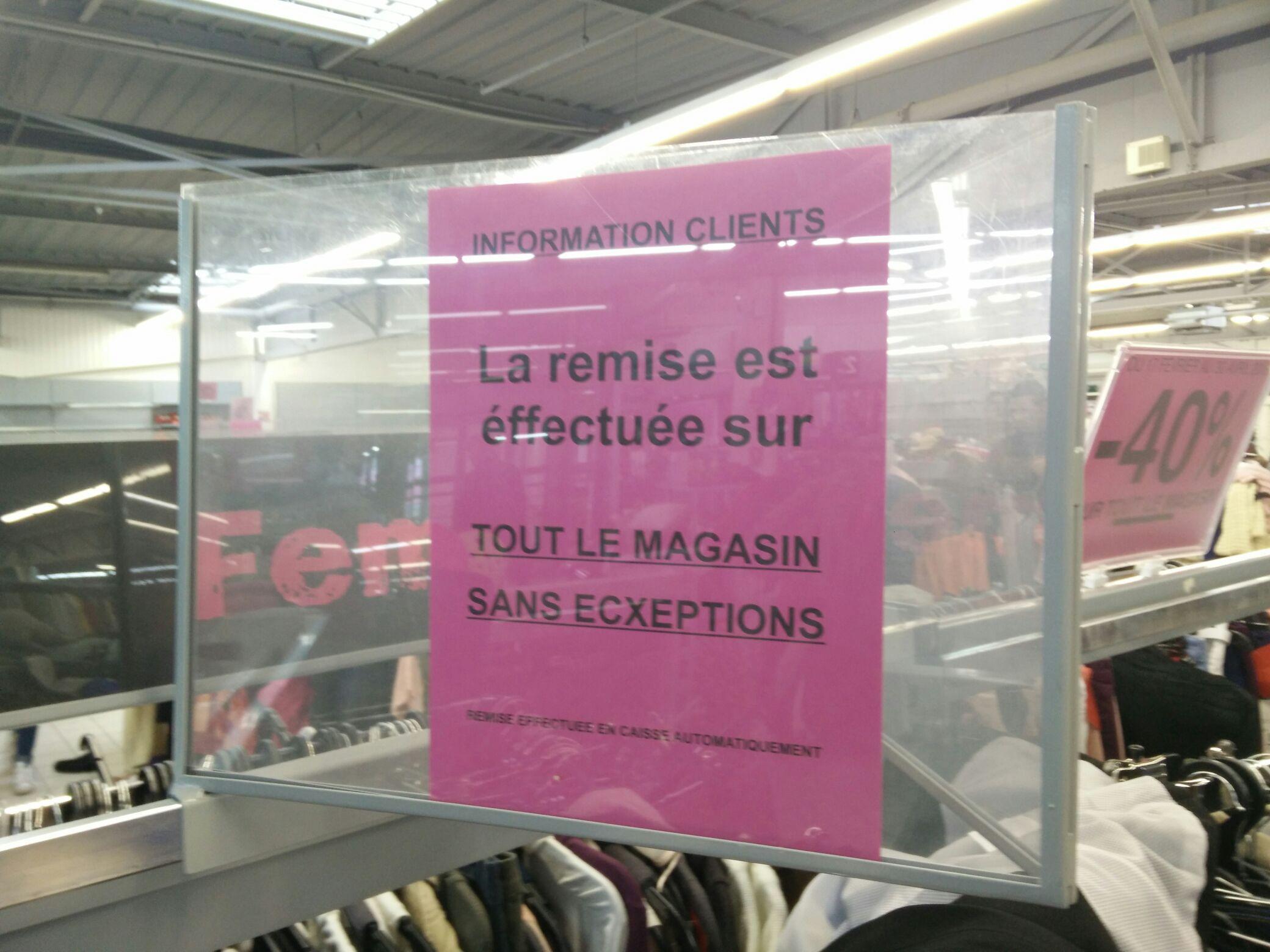 40% de réduction sur tout le magasin