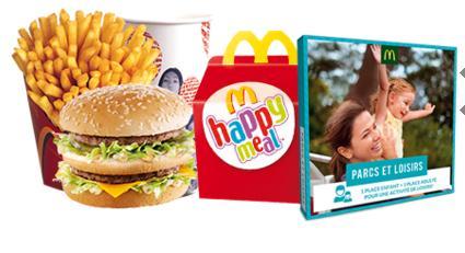 1 Menu + 1 Happy Meal achetés = 1 coffret activités pour un adulte et un enfant offert