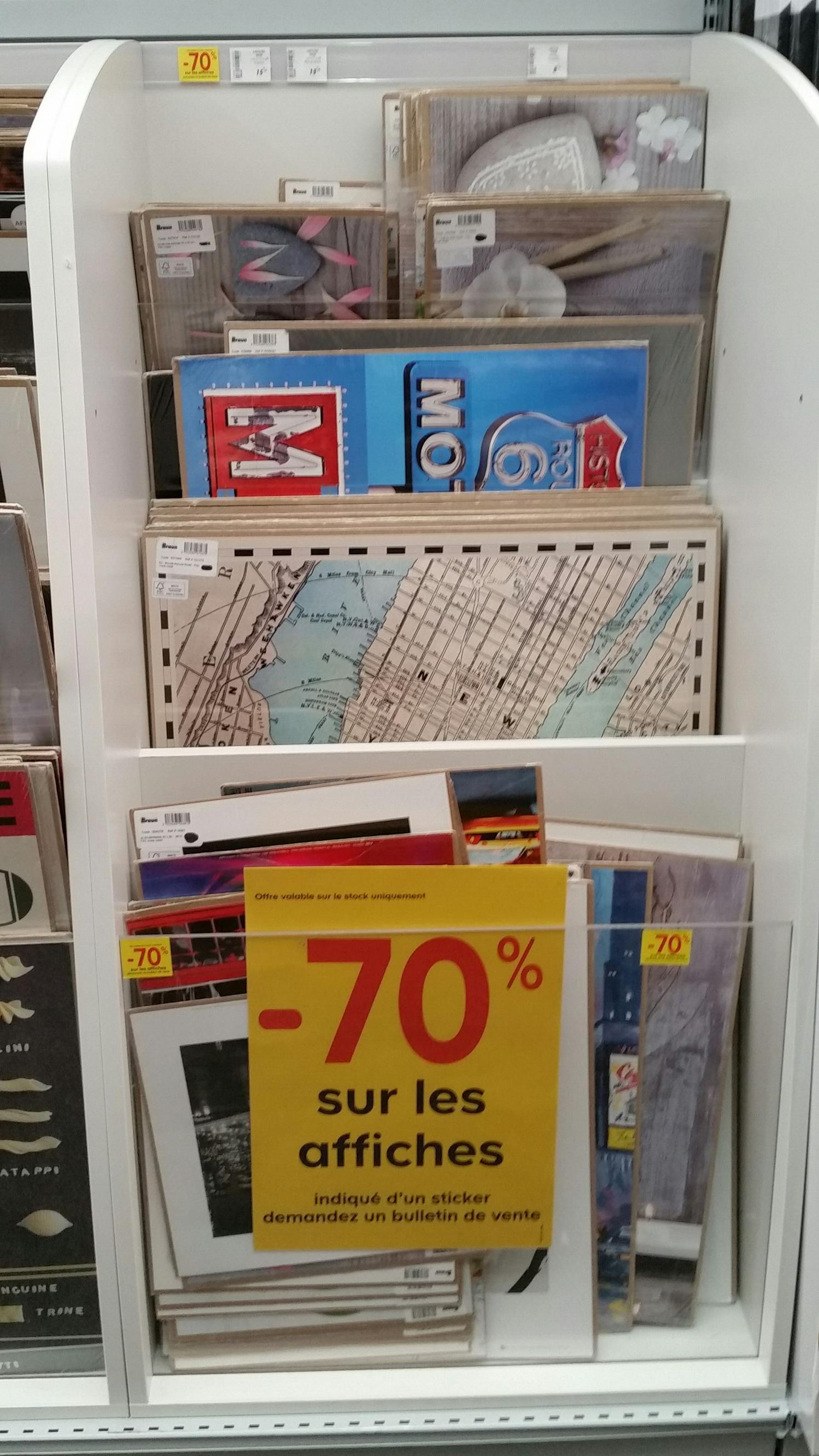 70% de réduction sur une sélection d'affiches décoratives - Ex : affiches 30x40 cm