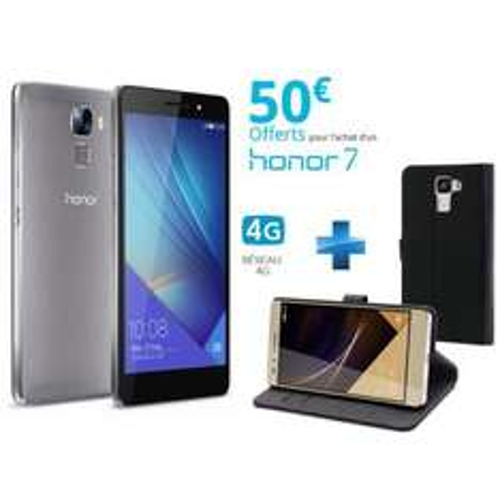 "Smartphone 5.2"" Honor 7 - 16 Go, gris (via ODR de 50€) + étui Muvit Folio Slim S - noir"