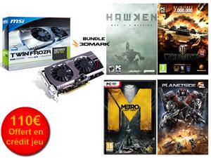 Carte graphique MSI GeForce GTX 660 OC Twin Frozr III 2 Go + 110€ de crédits jeu offerts / Paiement via Buyster