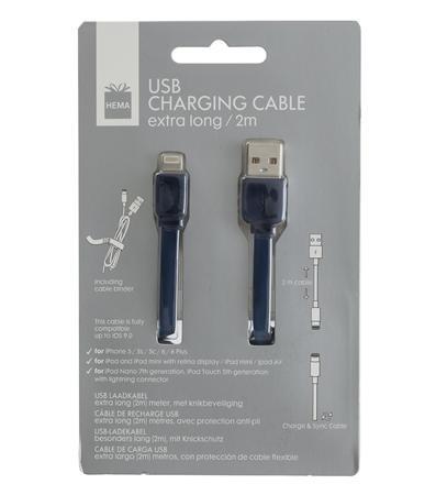 Câble Lightning (coloris au choix) - 200 cm