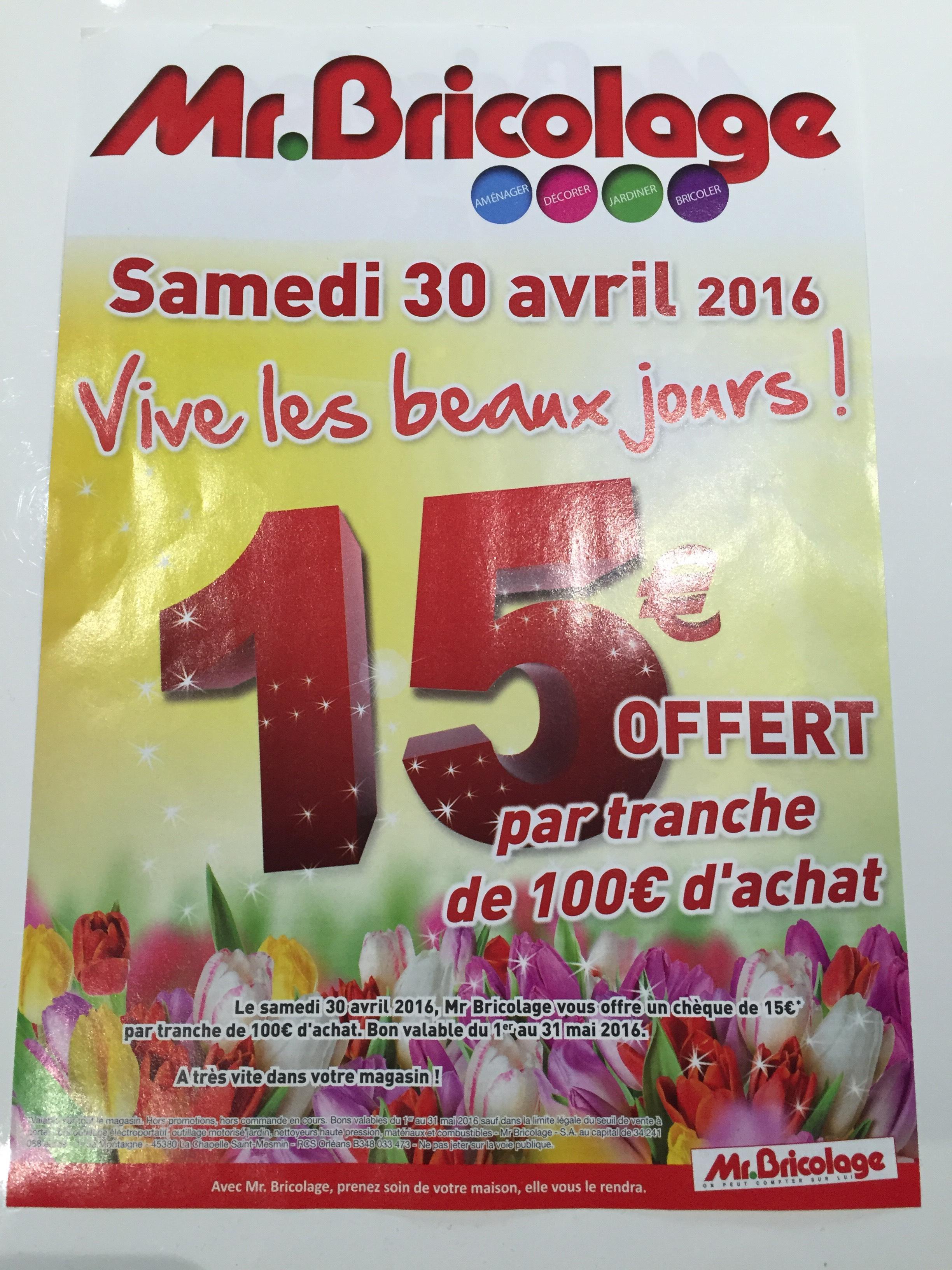 15€ offerts par tranche de 100€ d'achat