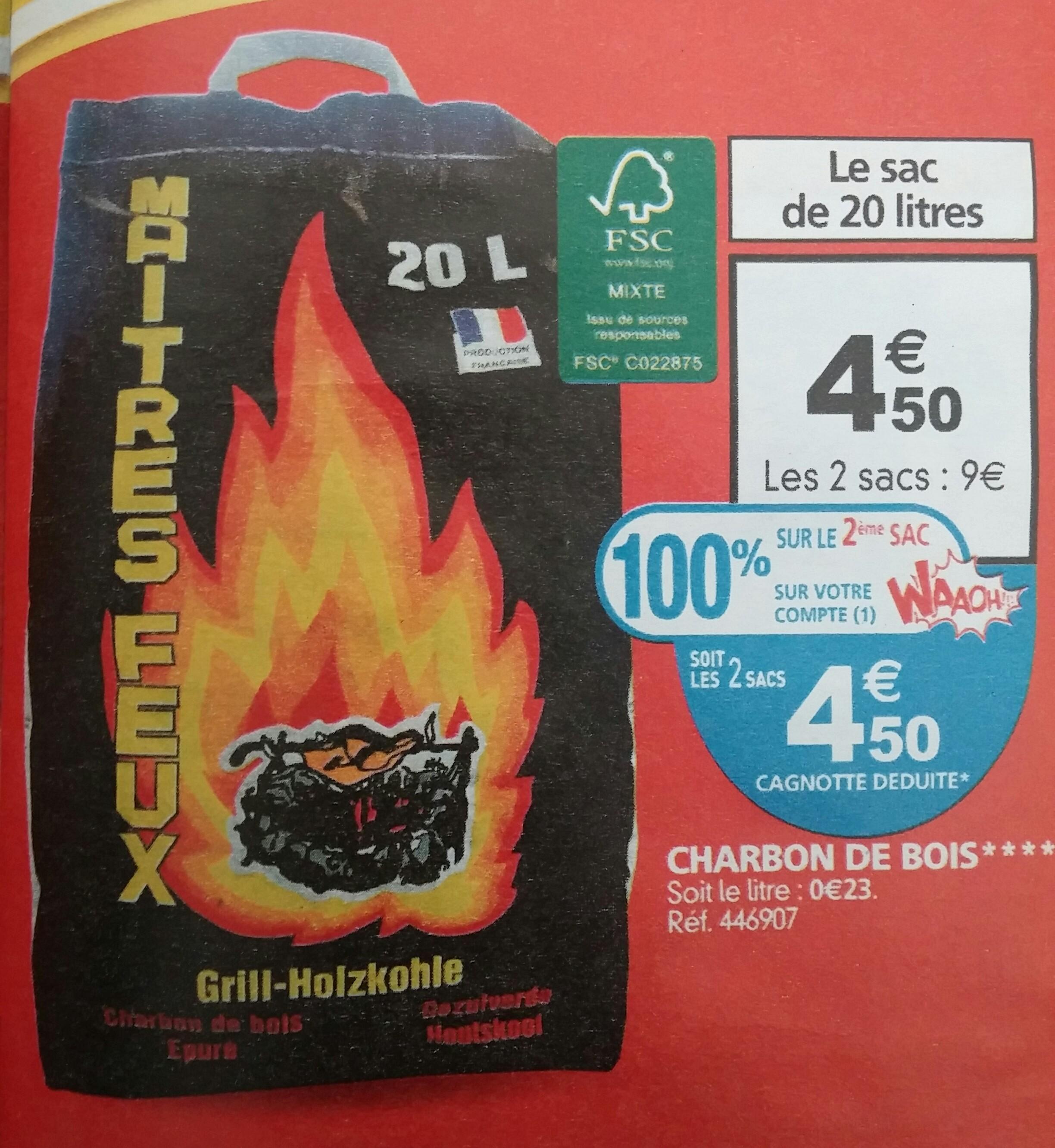 2 sacs de charbon de bois - 20 L (via 4.5€ sur la carte Waaoh)