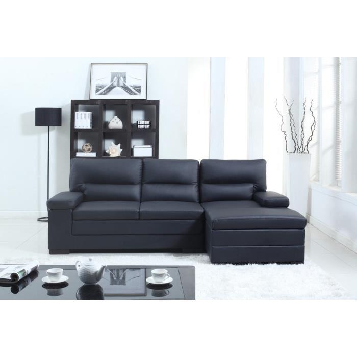 Canapé d'angle gauche Valentino en cuir et simili - 3 places, 241x155x94 cm, Noir