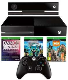 Console Microsoft Xbox One 500Go + Kinect + Dance Central Spotlight + Kinect Sports Rivals + Zoo Tycoon + Halo 5 ou Rise of the Tomb Raider