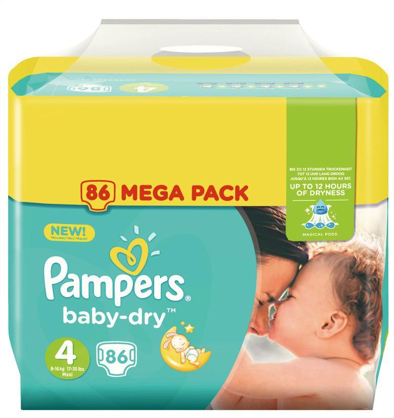 50% sur la carte sur les Mega Pack Pampers - Ex: 86 couches Baby Dry Taille 4 (avec 13.85€ sur la carte)