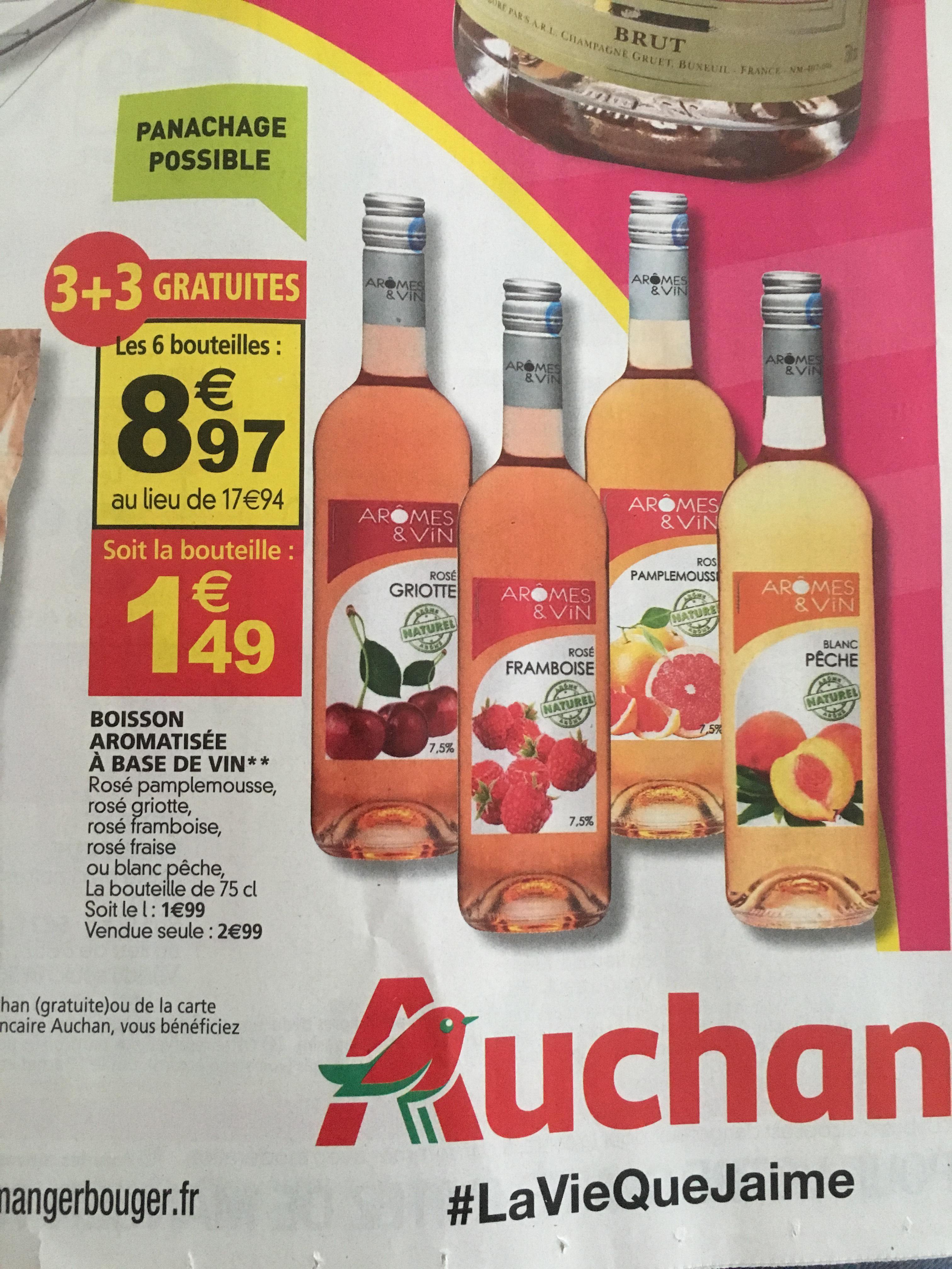 Lot de 6 bouteilles de vin aromatisé Arômes & Vin - différents parfums