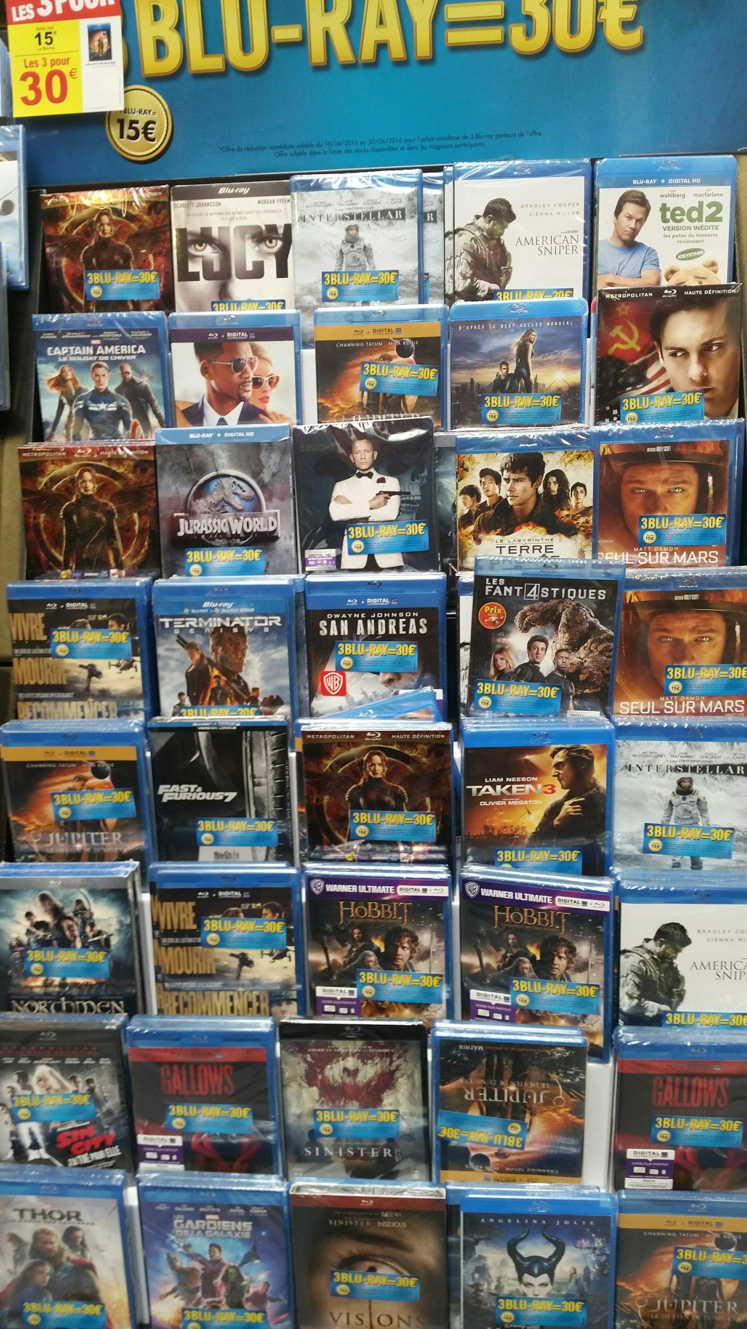 3 Blu-ray parmi une sélection pour 30€ - Ex : Jurassic World + Seul sur Mars + Fast and Furious 7