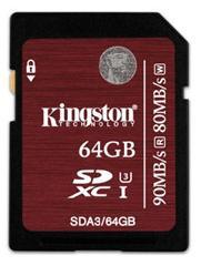Carte mémoire SDXC Kingston UHS-1 U3 Classe 10 - 64 Go (jusqu'à 94 MB/s)