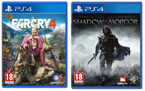 2 jeux PS4 / Xbox One (Occasion) parmi une sélection pour 19.70€ - Ex : Farcry 4 + La Terre du Milieu : L'Ombre du Mordor sur PS4